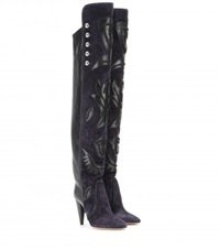 Isabel Marant Becky Embellished Suede And Leather Over The Knee Boots Black