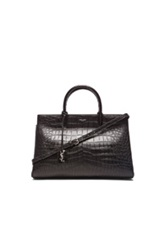Saint Laurent Medium Monogramme Croc Embossed Cabas Bag In Black Animal Print