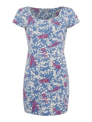 Lily And Me Pocket Tunic In Meadow Grass Print Blue