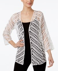 Alfani Cotton Crochet Open Front Cardigan Only At Macy's Bright White