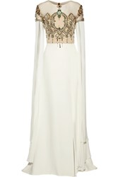 Reem Acra Embellished Tulle Paneled Silk Gown Ivory