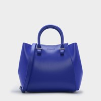 Charles And Keith Structured Top Handle Tote Bag Blue