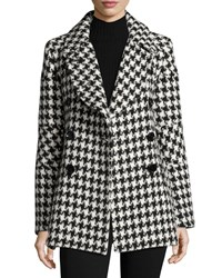 Sofia Cashmere Houndstooth Double Breasted Alpaca Wool Pea Coat Black