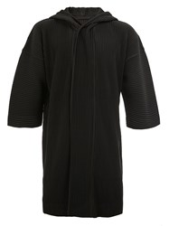 Homme Plisse Issey Miyake Pleated Hooded Shortsleeved Coat Black