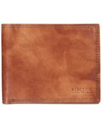 Kenneth Cole Reaction Men's Kingsway Extra Capacity Slim Leather Wallet Tan