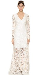 Badgley Mischka Collection Long Sleeve Lace Waist Gown White