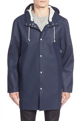 Stutterheim 'Stockholm' Hooded Longline Raincoat Navy