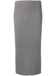 Allude Ribbed Knit Midi Skirt Grey