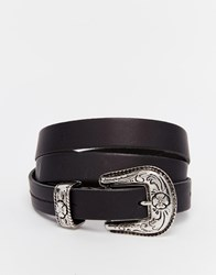 Asos Leather Slim Boyfriend Western Belt Black