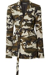 House Of Holland Oversized Belted Camouflage Print Cotton Canvas Blazer Army Green