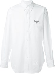 Thom Browne Embroidered Fish Tail Shirt White