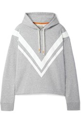 Tory Sport Striped French Cotton Terry Hoodie Gray