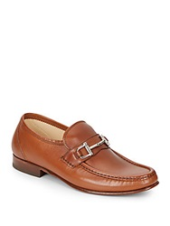 Massimo Matteo Bit Leather Moccasins Tan