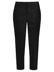 Vince Cotton Blend Mid Rise Tapered Trousers Black