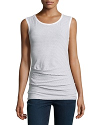 James Perse Sleeveless Striped Stretch Knit Top White