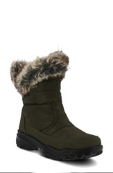 Spring Step Korine Waterproof Faux Fur Bootie Olive Green Fabric