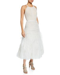 Marchesa Halter Neck Textured Tulle Draped Bodice Tea Length Gown Ivory