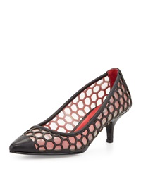 Charles Jourdan London Honeycomb Mesh Pump Nude