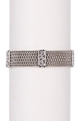 Lois Hill Sterling Silver Thai Weave And Cutout Station Bracelet Metallic