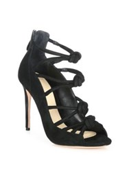 Alexandre Birman Knotted Suede Cage Sandals Black