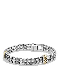 David Yurman Two Row Chain Bracelet With 18K Gold Silver Gold