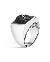 John Hardy Sterling Silver Legends Eagle Signet Ring With Black Onyx Black Silver