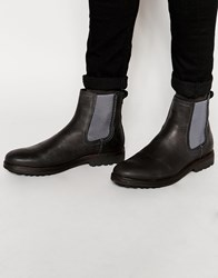 River Island Chelsea Boots In Leather With Cleated Sole Black