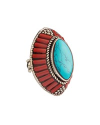Devon Leigh Coral And Turquoise Marquis Ring Adjustable Size