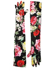 Dolce And Gabbana Floral Printed Charmeuse Long Gloves Black