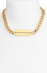 Rachel Zoe 'Stell' Pave Id Chain Necklace Gold Crystal