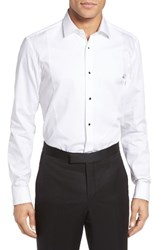 Boss Men's Big And Tall Jant Slim Fit Tuxedo Shirt White