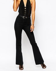Missguided Highwaisted Tube Flare Jean Black