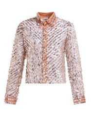 Ashish Striped Sequinned Shirt Beige