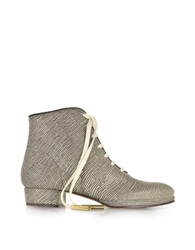 Zoe Lee Zachary Lizard Embossed Lace Up Bootie Gray