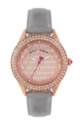 Betsey Johnson Women's Crystal Heart Quilted Leather Strap Watch Gray