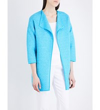 St John Collarless Lattice Knitted Jacket Aqua