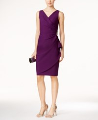 Alex Evenings Petite Embellished Ruched Sheath Dress Summer Plum