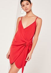 Missguided Strappy Wrap Tie Waist Shift Dress Red Red