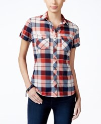 Polly And Esther Juniors' Plaid Short Sleeve Shirt Brick Ivory