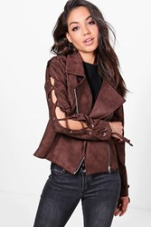 Boohoo Lace Up Sleeve Suedette Biker Chocolate