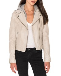 Lamarque Holy Leather Biker Jacket W Removable Hood Cloud