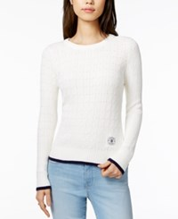 Tommy Hilfiger Cotton Cable Knit Sweater Only At Macy's Ivory Combo