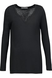Yummie Tummie By Heather Thomson Ribbed Modal And Cotton Blend Top Black