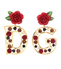 Dolce And Gabbana Crystal Embellished Earrings Gold