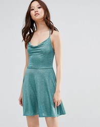 Wal G Cami Dress In Glitter Fabric Green