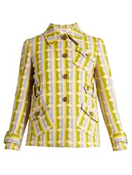 Miu Miu Circle Striped Print Wool Blend Jacket Green Multi