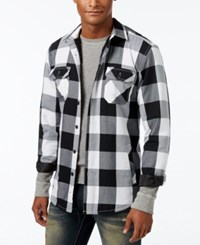 American Rag Men's Buffalo Plaid Shirt Jacket With Faux Sherpa Lining Only At Macy's Bright White