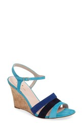 Kate Spade Women's New York Strappy Wedge Sandal Turquoise Kid Suede