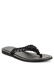 Saks Fifth Avenue Made In Italy Braided Thong Sandals Black