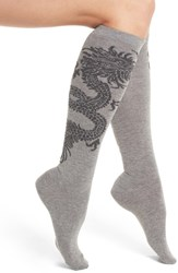 Natori Women's Dragon Pattern Knee High Socks Medium Gray Heather